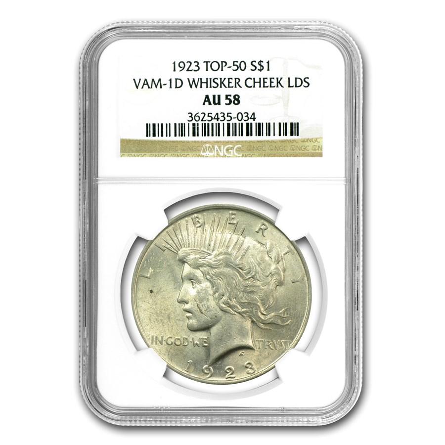 1923 Peace Dollar AU-58 NGC (VAM-1D Whisker Cheek, LDS Top-50)