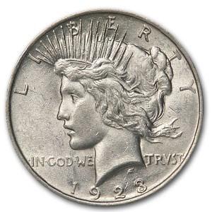 1923 Peace Dollar AU-58 (VAM-1F Chin Bar, Top-50)