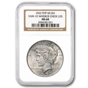 1923 Peace Dollar MS-60 NGC (VAM-1D, Whisker Cheek LDS, Top-50)