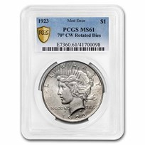 1923 Peace Dollar MS-61 PCGS (70 Degree CW Rotated Rev)