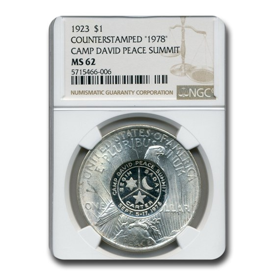 1923 Peace Dollar MS-62 NGC (Counterstamped 1978 Camp David)