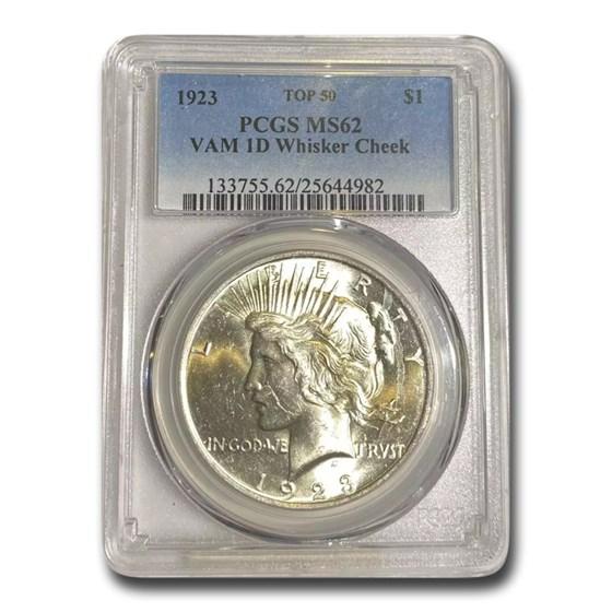 1923 Peace Dollar MS-62 PCGS (VAM-1D, Whisker Cheek LDS, Top-50)