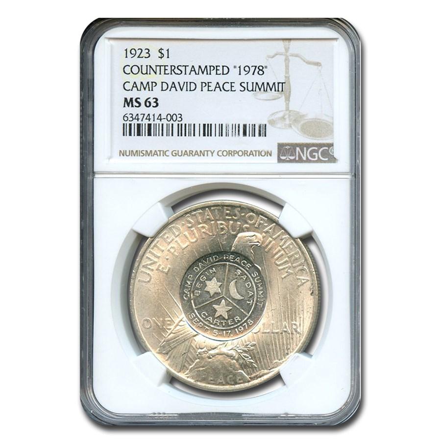 1923 Peace Dollar MS-63 NGC (Counterstamped 1978 Camp David)