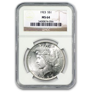 1923 Peace Dollar MS-64 NGC (VAM-1F, Chin Bar, Top-50)