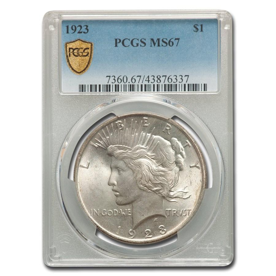 1923 Peace Dollar MS-67 PCGS