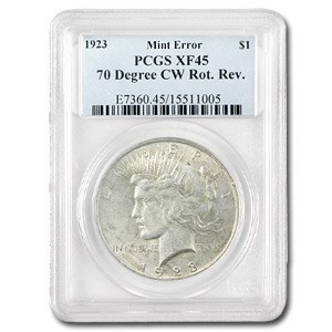 1923 Peace Dollar XF-45 PCGS (70 Degree CW Rotated Rev)