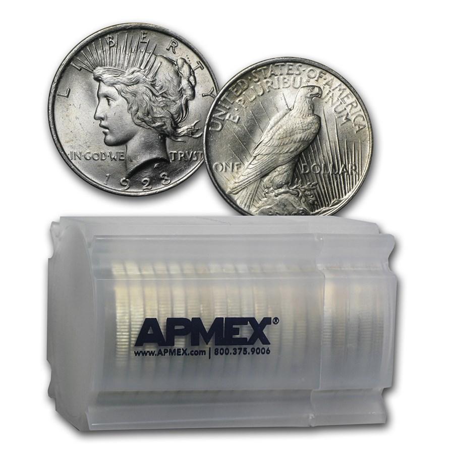 1923 Peace Silver Dollars BU (20-Coin Roll)