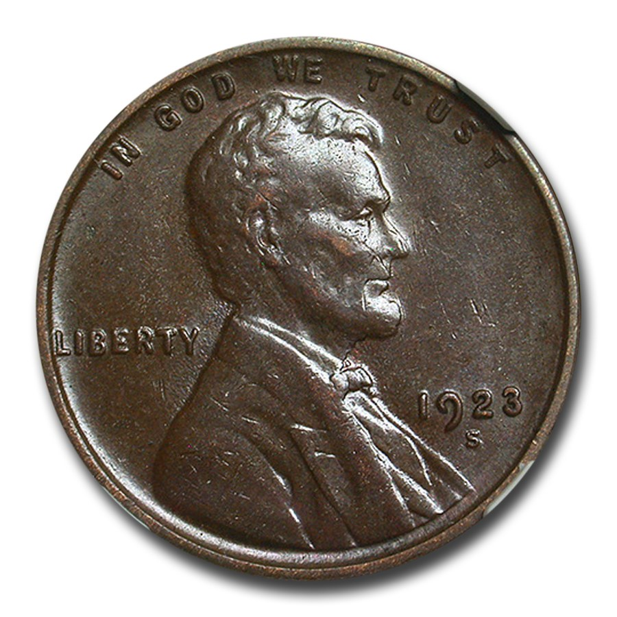 1923-S Lincoln Cent AU-58 NGC (Brown)