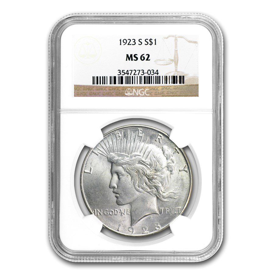 1923-S Peace Dollar MS-62 NGC