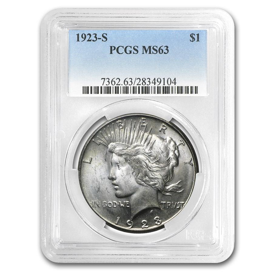1923-S Peace Dollar MS-63 PCGS