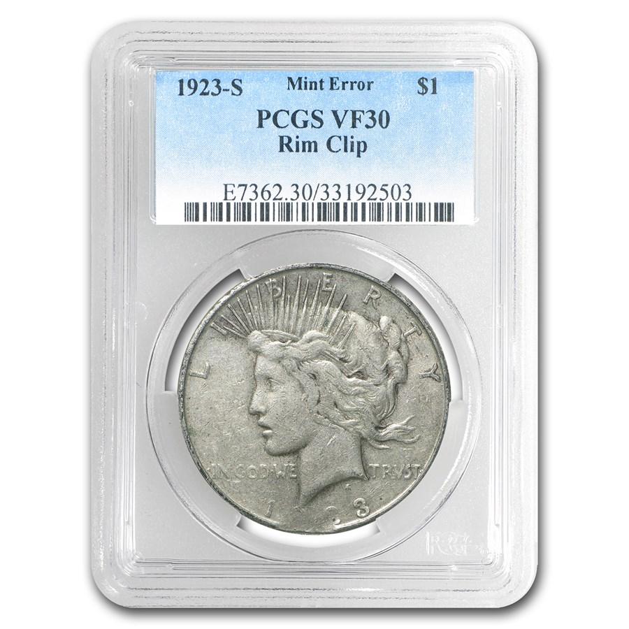 1923-S Peace Dollar VF-30 PCGS (Rim Clip, Mint Error)