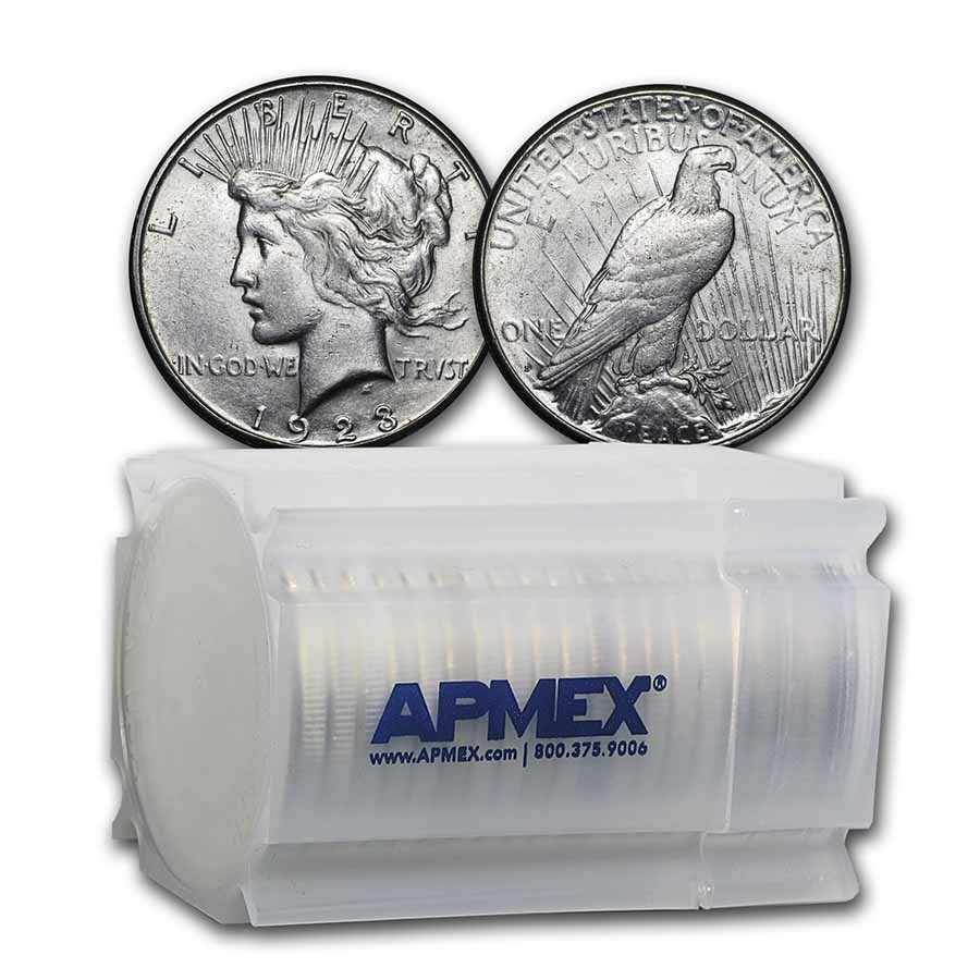 1923-S Peace Silver Dollars AU (20-Coin Roll)