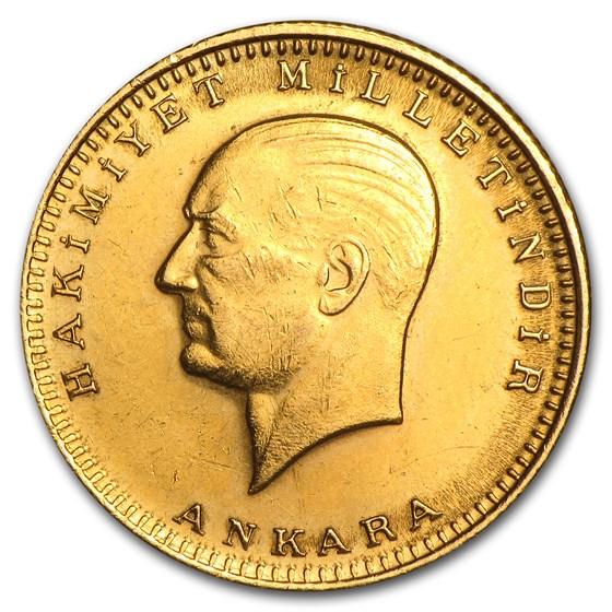 1923/XX Turkey Gold 100 Kurush Average Circ (Random)