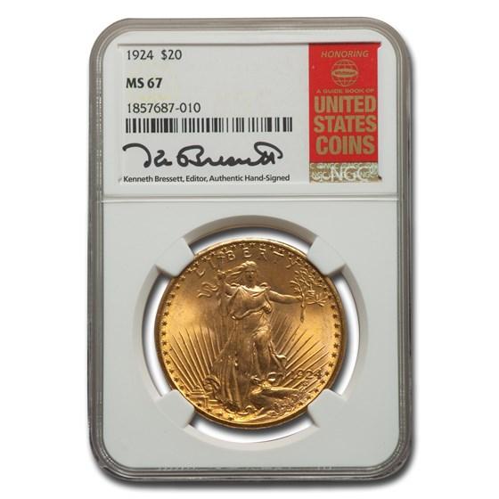 1924 $20 Saint-Gaudens Double Eagle MS-67 NGC