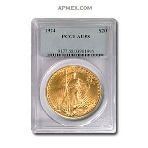 1924 $20 Saint-Gaudens Gold Double Eagle AU-58 PCGS
