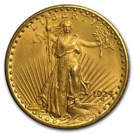 1924 $20 Saint-Gaudens Gold Double Eagle AU