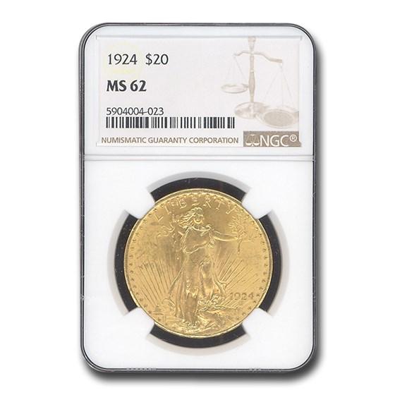 1924 $20 Saint-Gaudens Gold Double Eagle MS-62 NGC
