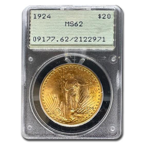 1924 $20 Saint-Gaudens Gold Double Eagle MS-62 PCGS (Rattler)