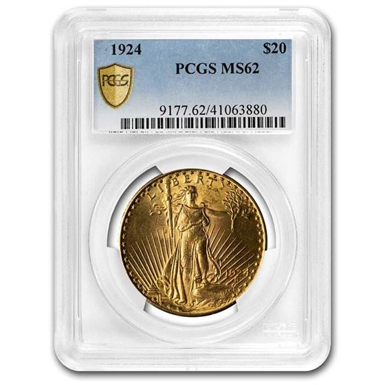 1924 $20 Saint-Gaudens Gold Double Eagle MS-62 PCGS