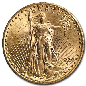 1924 $20 Saint-Gaudens Gold Double Eagle MS-63 (Hairlines)