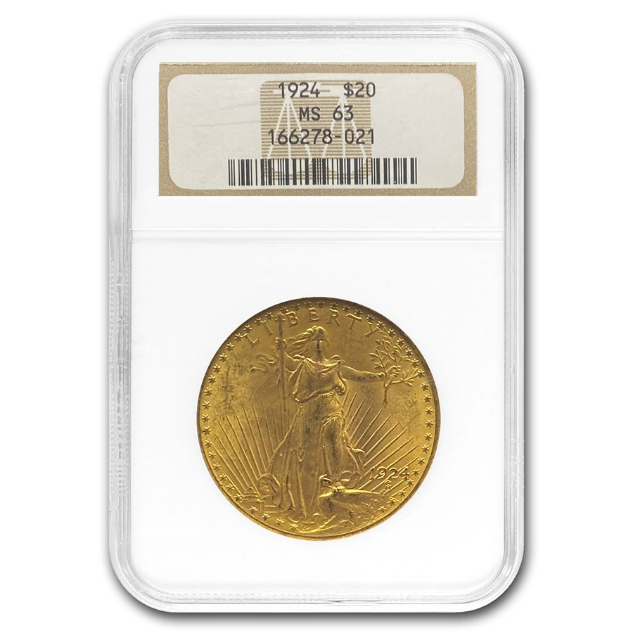 1924 $20 Saint-Gaudens Gold Double Eagle MS-63 NGC
