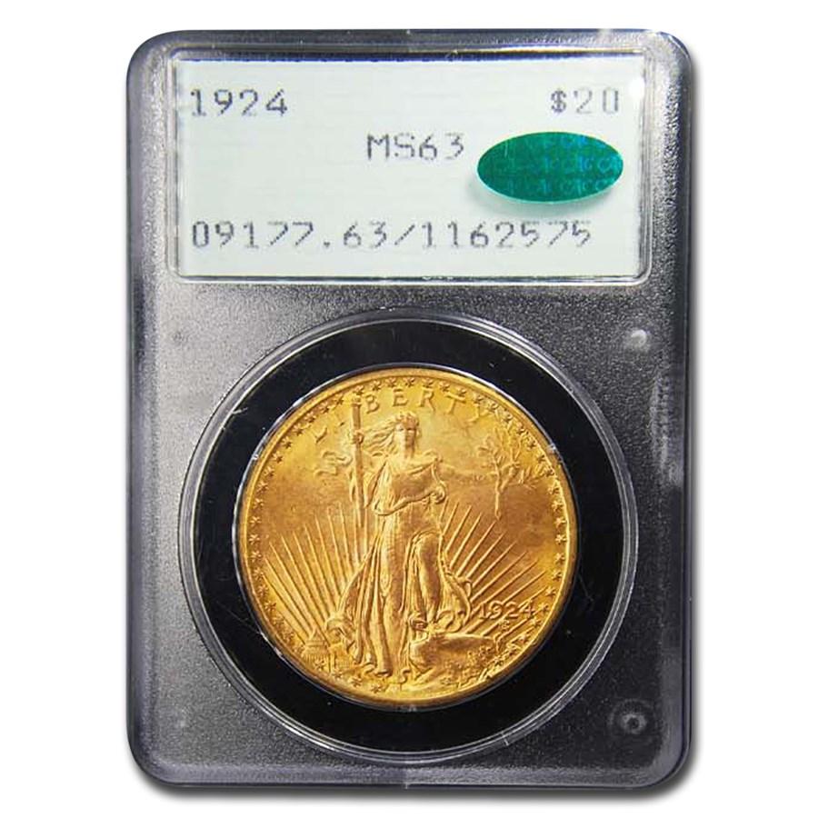 1924 $20 Saint-Gaudens Gold Double Eagle MS-63 PCGS CAC (Rattler)