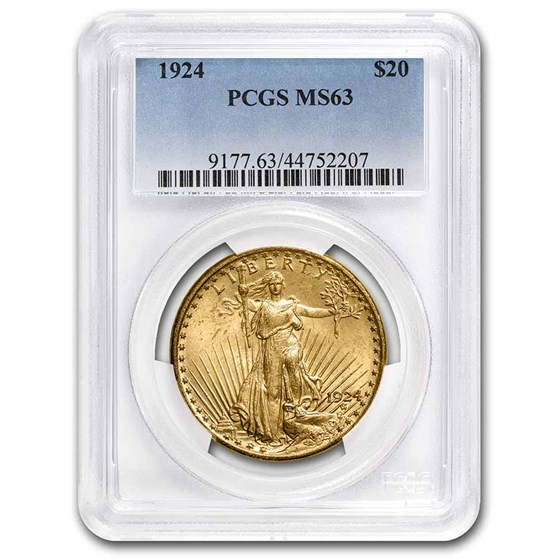 1924 $20 Saint-Gaudens Gold Double Eagle MS-63 PCGS