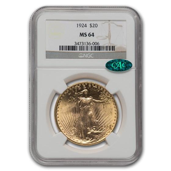 1924 $20 Saint-Gaudens Gold Double Eagle MS-64 NGC CAC