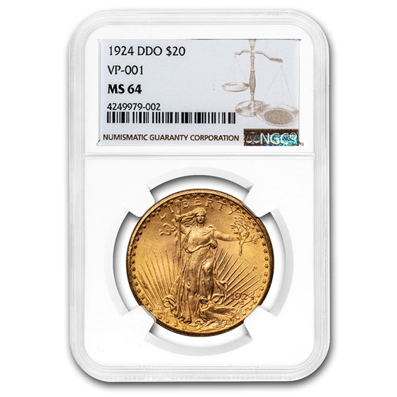 1924 $20 Saint-Gaudens Gold Double Eagle MS-64 NGC (DDO VP-001)