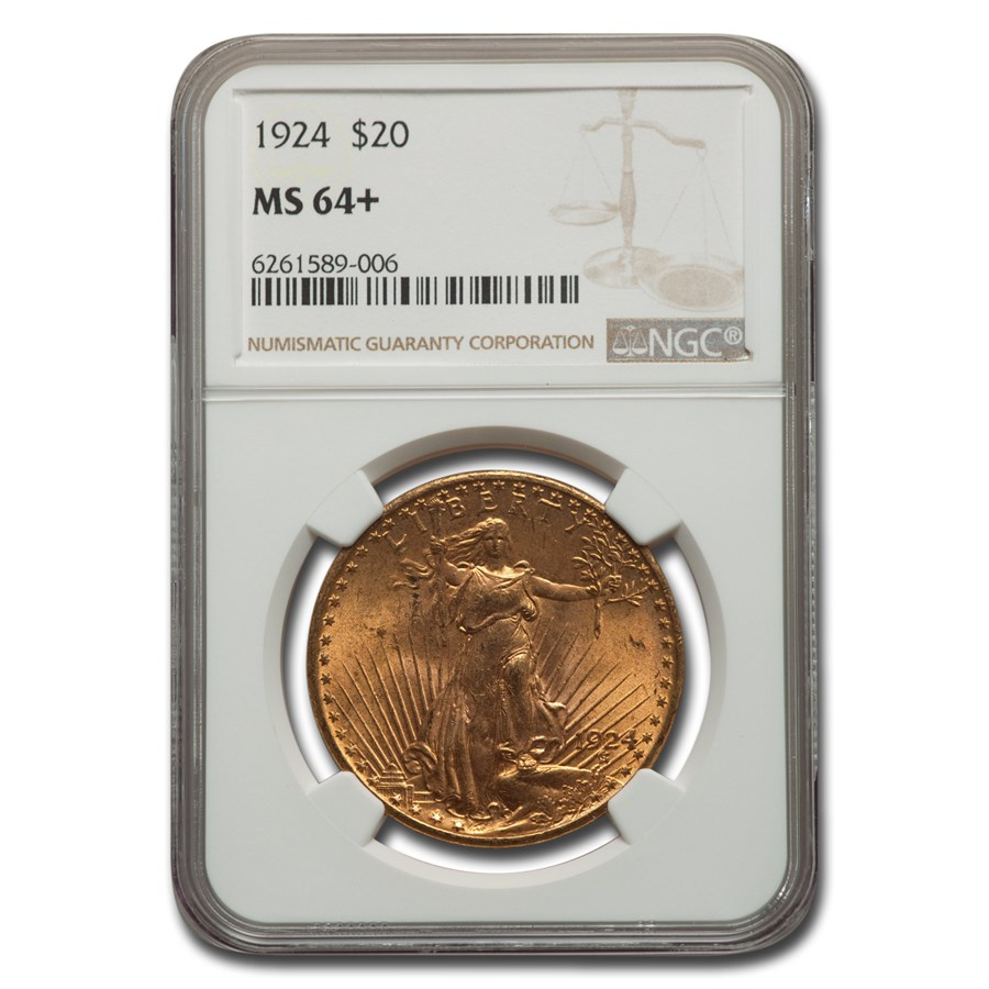 1924 $20 Saint-Gaudens Gold Double Eagle MS-64+ NGC