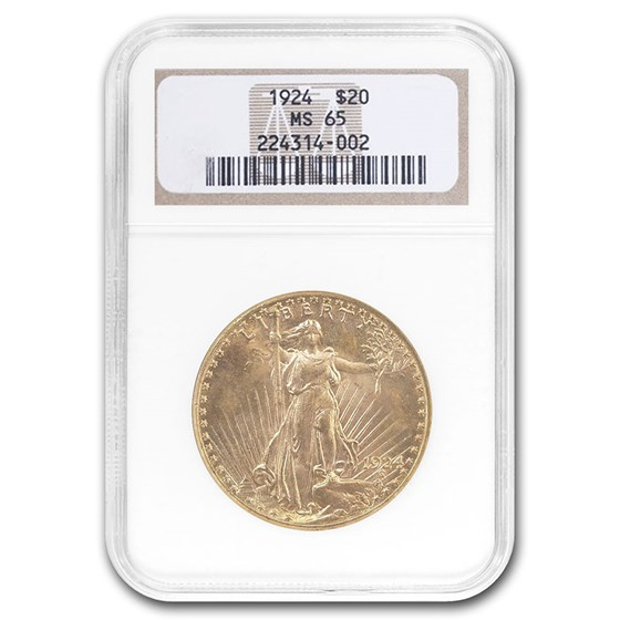 1924 $20 Saint-Gaudens Gold Double Eagle MS-65 NGC