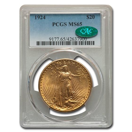 1924 $20 Saint-Gaudens Gold Double Eagle MS-65 PCGS CAC