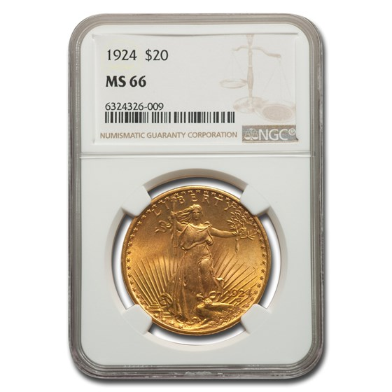 1924 $20 Saint-Gaudens Gold Double Eagle MS-66 NGC