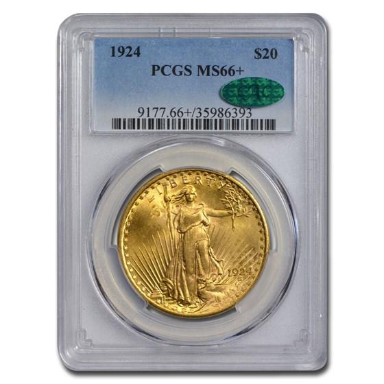 1924 $20 Saint-Gaudens Gold Double Eagle MS-66+ PCGS CAC