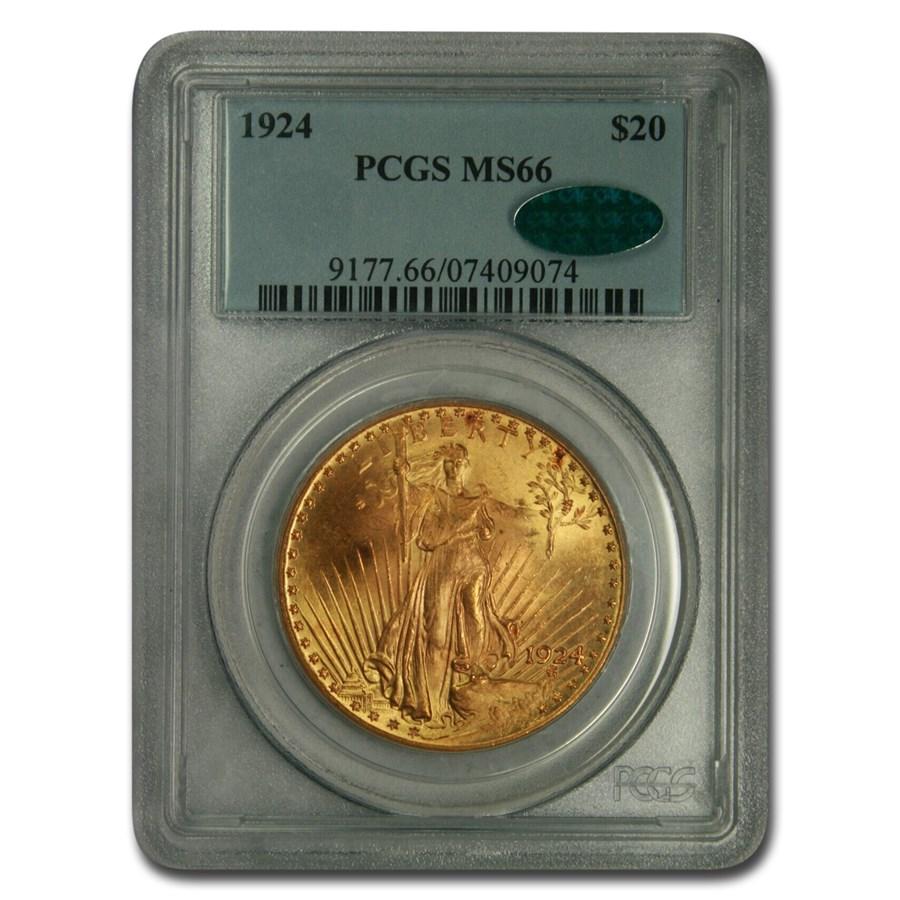 1924 $20 Saint-Gaudens Gold Double Eagle MS-66 PCGS CAC