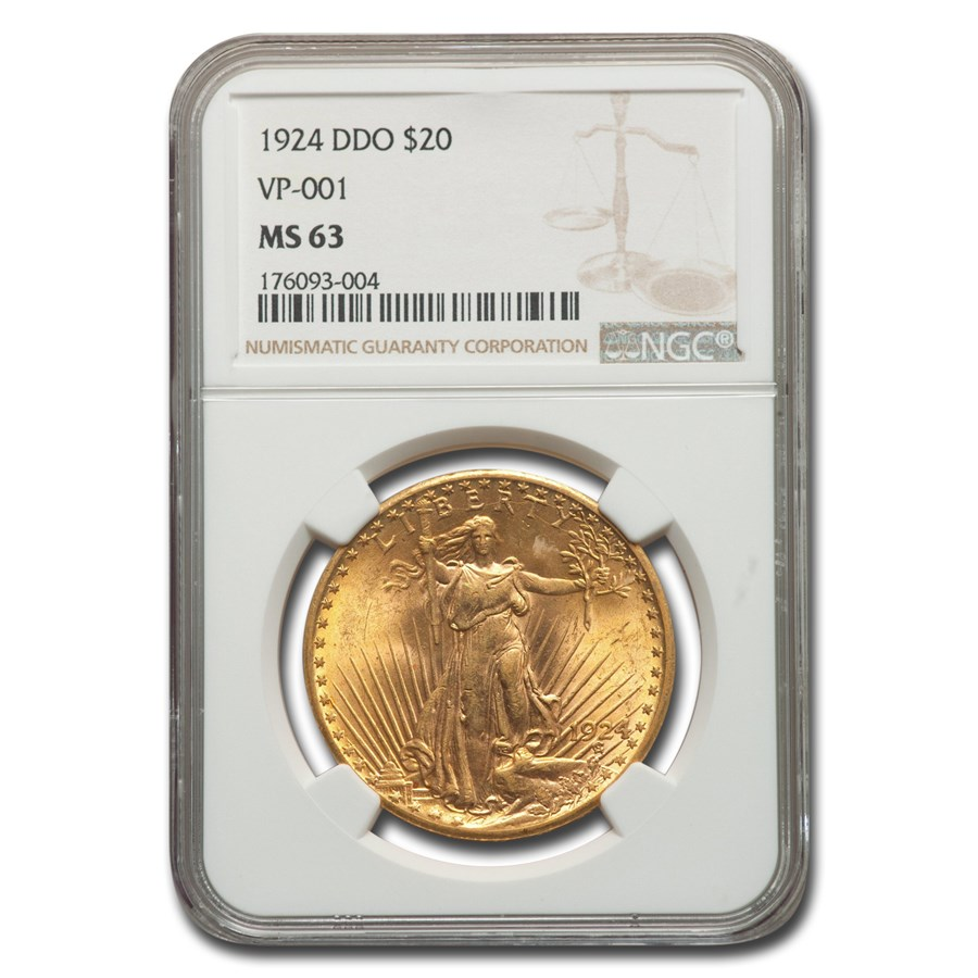 1924 $20 St. Gaudens Gold Double Eagle MS-63 NGC (DDO, VP-001)