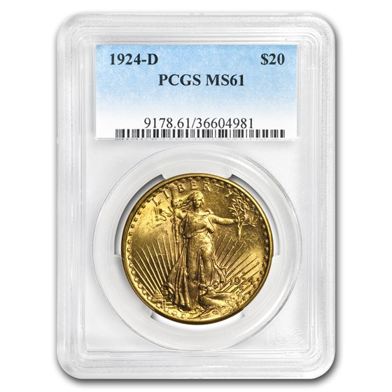 1924-D $20 Saint-Gaudens Gold Double Eagle MS-61 PCGS