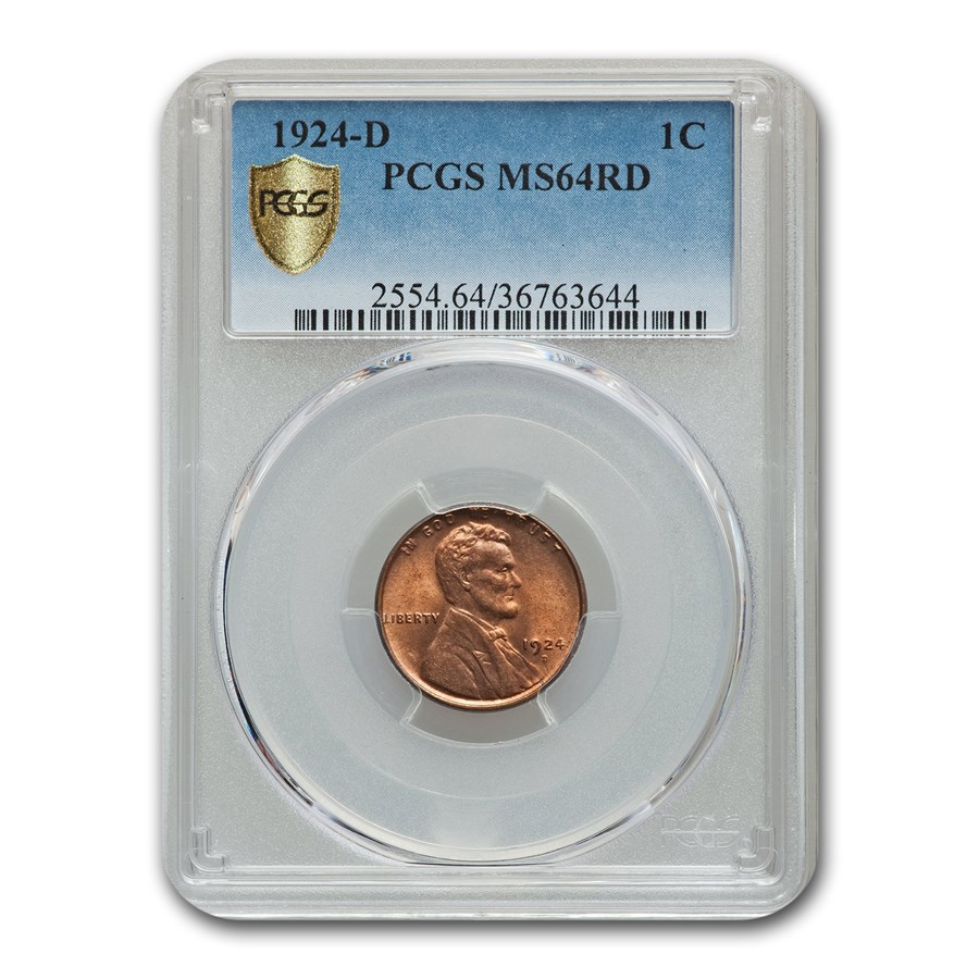 1924-D Lincoln Cent MS-64 PCGS (Red)