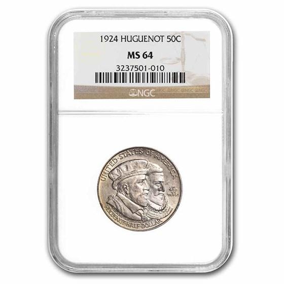 1924 Huguenot Half Dollar Commem MS-64 NGC