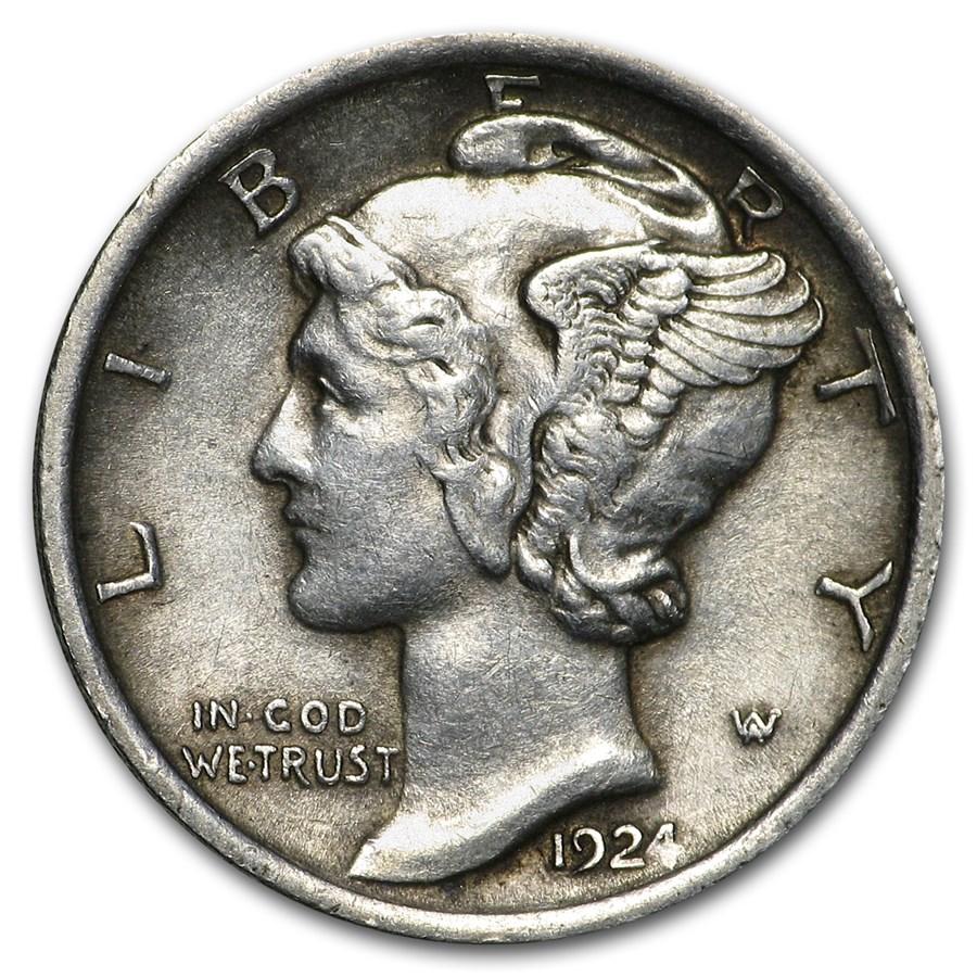1924 Mercury Dime XF