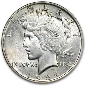 1924 Peace Dollar AU-58 (VAM-1A Bar D, Top-50)