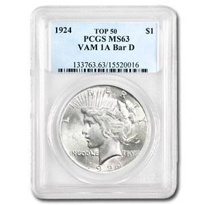1924 Peace Dollar MS-63 PCGS (VAM-1A Bar D, Top-50)