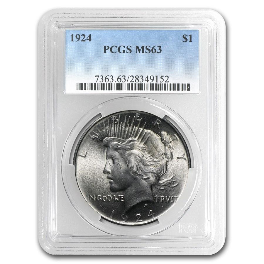 1924 Peace Dollar MS-63 PCGS