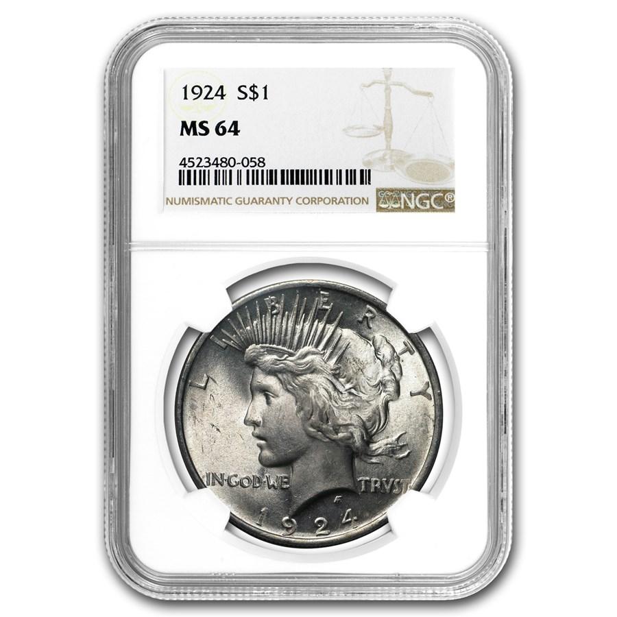 1924 Peace Dollar MS-64 NGC