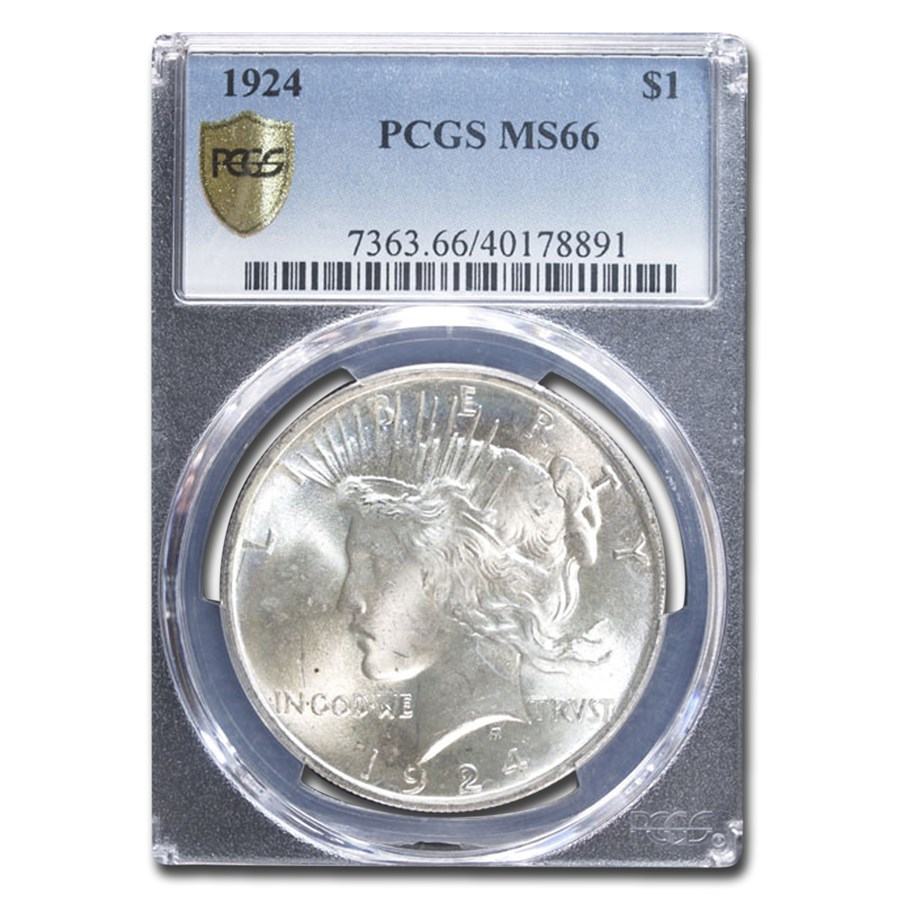 1924 Peace Dollar MS-66 PCGS