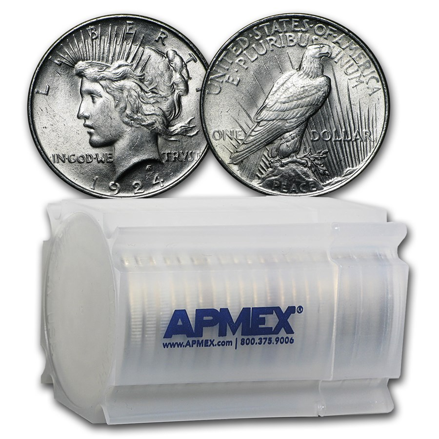 1924 Peace Silver Dollars BU (20-Coin Roll)