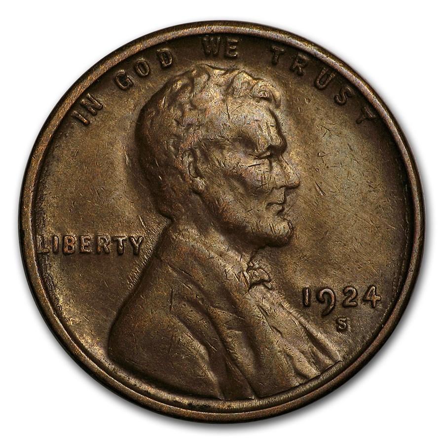 1924-S Lincoln Cent AU