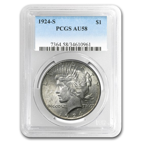 1924-S Peace Dollar AU-58 PCGS
