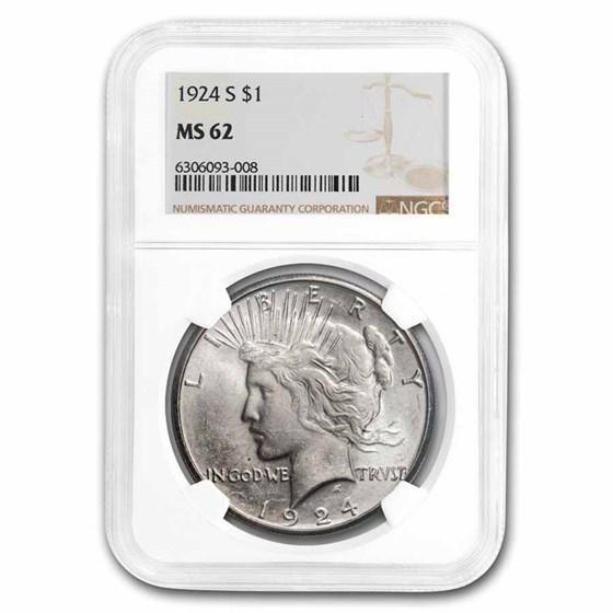 1924-S Peace Dollar MS-62 NGC
