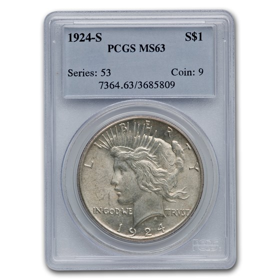 1924-S Peace Dollar MS-63 PCGS